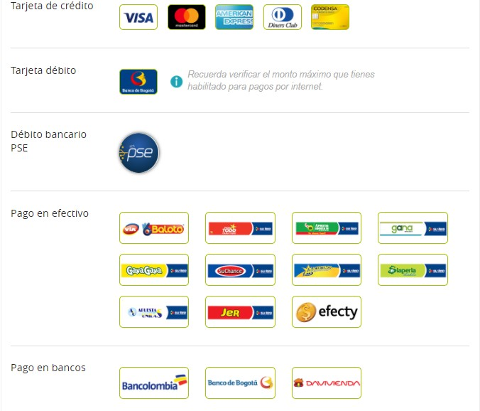 elige metodo de pago